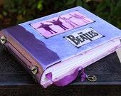 The BEATLES Art Journal Purple Velvet Black Leather Beaded Blank Book