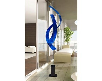 Huge Abstract Blue Metal Garden Sculpture - Large Indoor-Outdoor Handmade Freestanding Art - Blue Maritime Massive by Jon Allen