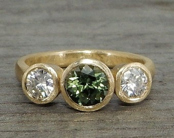 Green Sapphire Ring - with Moissanite and Recycled 14k Yellow Gold - Three Stone Engagement, Wedding, or Any Occasion Ring - size 6.5
