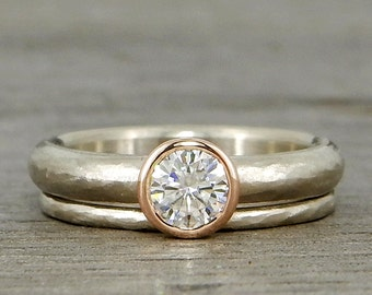 Wedding Ring Set - Forever One Moissanite with Recycled 14k Rose and White Gold - Ethical, Eco-Friendly, Conflict Free - Made to Order
