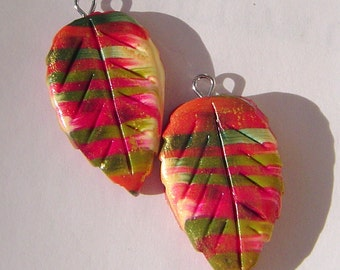 Colorful Leaf Charms Handmade Artisan Polymer Clay Charm Pair