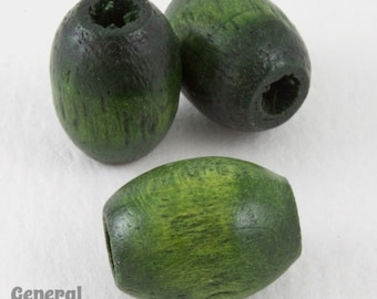 10mm x 13mm Green Oval Wood Bead (25 Pcs) #5008
