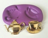 Teacup and Teapot Silicone Mould - Highly Flexible - Cake Decorate Icing Fondant sugarcraft Sugarpaste Fondant, Fimo, Icing, Clay
