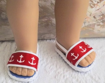 """Doll Sandals doll shoes to fit 18"""" doll or 13-14"""" doll or 14.5"""" doll (You Select Size) Red Nautical Anchor Style"""