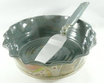 Pie Baking Pan - Green Pie dish - Wedding Gift Pie Plate - Ceramic Bakeware - Pie Baker - Quiche or Cake Plate - Baking Dish 360