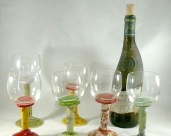 Quirky Wine Glasses, Stemmed Wine Goblet, Funky Wine Glass, Ceramic Wine Chalice, Wedding Wine Glass, Bridal Wine Glass, Water Goblet