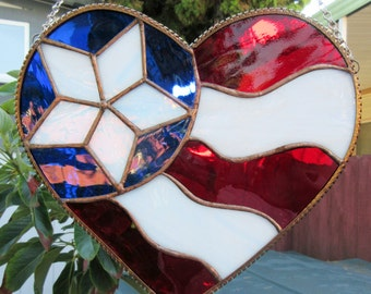 Heart, Patriotic, 8 x 9 inches, in Red, White & Blue Stained Glass, Suncatcher