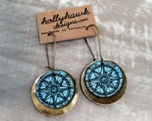Leather & Antique Brass Earrings Compass with Digital Photo Print on 100% Genuine Leather