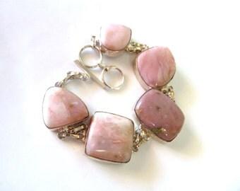 Sterling silver Bezel set link Pink Jasper stone Bracelet