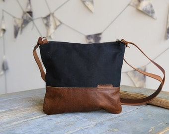 Waxed Canvas and Leather Crossbody Bag Black / Handmade Leather and Canvas Purse / Foldover Bag with Strap