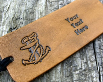 Personalized Luggage Tag Leather Bon Voyage Anchors Aweigh