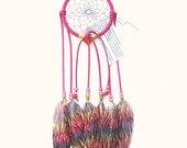 Bright Pink Dream Catcher, Printed Rainbow Goose Feathers