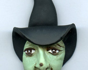 Polymer Witch or Crone Art Doll Face With Black Hat WTCHH 6