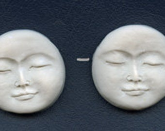 "Lot of 2 Polymer Faux   Bone Side Drilled   1 1/2 "" Peaceful Moon  Beads FBMLS 2"