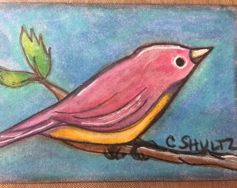 Bird on a Branch ATC OOAK