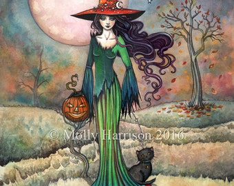 Valley Moon  Fantasy Art Original Witch Cat Halloween Archival Giclee Print 9 x 12