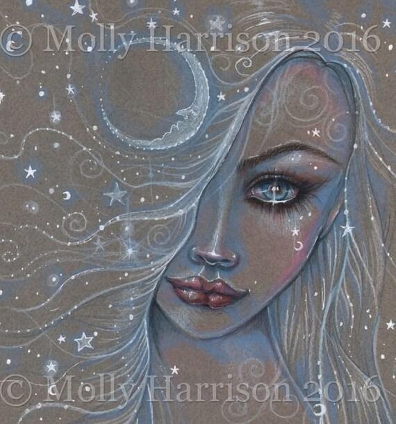 Cosmic Girl - Original Drawing - Fairy, Fantasy, Moon, Celestial Artwork by Molly Harrison 9 x 12