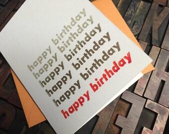 Repeated Greetings Birthday Split-Fountain Letterpress Card - Individual Card