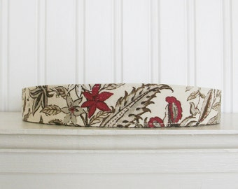 Headband Ivory, Brown and Red - Fabric Headband - Womens Fabric Headband - Adult Headband - Cotton Headband -Floral Headband