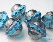 Flying Saucer Bead -  Czech Glass Beads - Aqua Platinum Picasso 10x11mm - 6 pcs