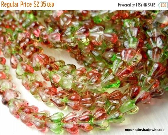 25% OFF Summer Sale 50 Czech Glass Baby Bell Flower Beads Peach Pear 4x6mm (G - 345)