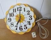 vintage Timex yellow flower kitchen clock