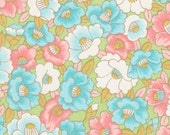 RESERVED FOR DharmaAdams - Chiyogami or yuzen paper - spring garden in full bloom, pastel pink and blue on light green accents, 9x12 inches