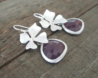 Burgundy Glass and Silver Orchid Earrings, Bridal Jewelry