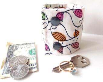 "Secret Stash Wrist  Money Cuff- "" A Little Bird Told Me"" -  Hide your cash, jewels, key, health info,  in a hidden zipper"