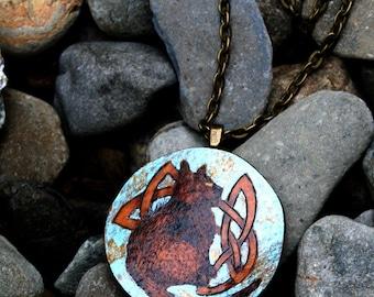 Black Cat Celtic Knot Gourd Pendant Necklace