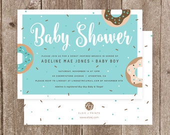 Donut Themed Baby Shower Invitation with Matching Envelopes
