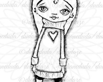 Big Sweater 2 Versions Digital Stamp - Printable - Art to Color by Duda Daze