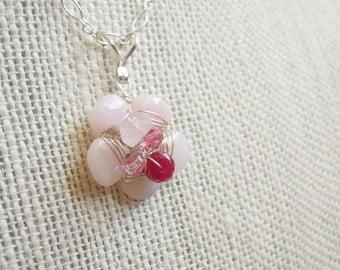 Pink Flower Pendant, Peruvian Opal, Genuine Ruby, Sterling Silver