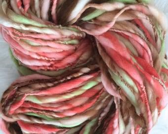 Yarn Handspun Thick and thin -Under the Tuscan Sun- Superwash merino, crochet, knit, weaving, supplies, craft supplies, doll hair 100yds.