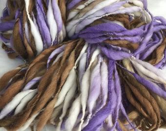 Yarn Handspun Thick and thin -GRAPESEED - merino, crochet, knit, weaving, supplies, craft supplies, doll hair 135yds.