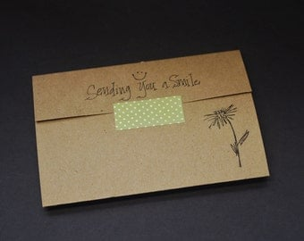 Sending You a Smile, rustic stationery set, kraft writing set, hand stamped trifold writing paper, pen pal, snail mail, recycled kraft paper