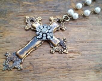 Julia Rustic romantic grungy cross bling pearl white beaded chain