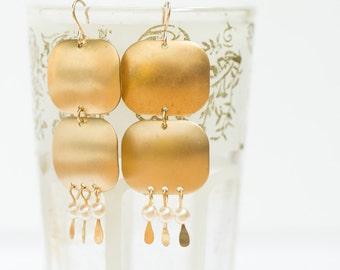Long Pearl Chandelier Earrings, Long Pearl earrings, Long Bohemian Earrings, Statement Earrings