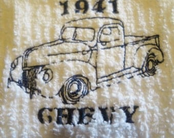 1941Chevy  Truck Blue Embroidered Vintage truck On White Dish Towel