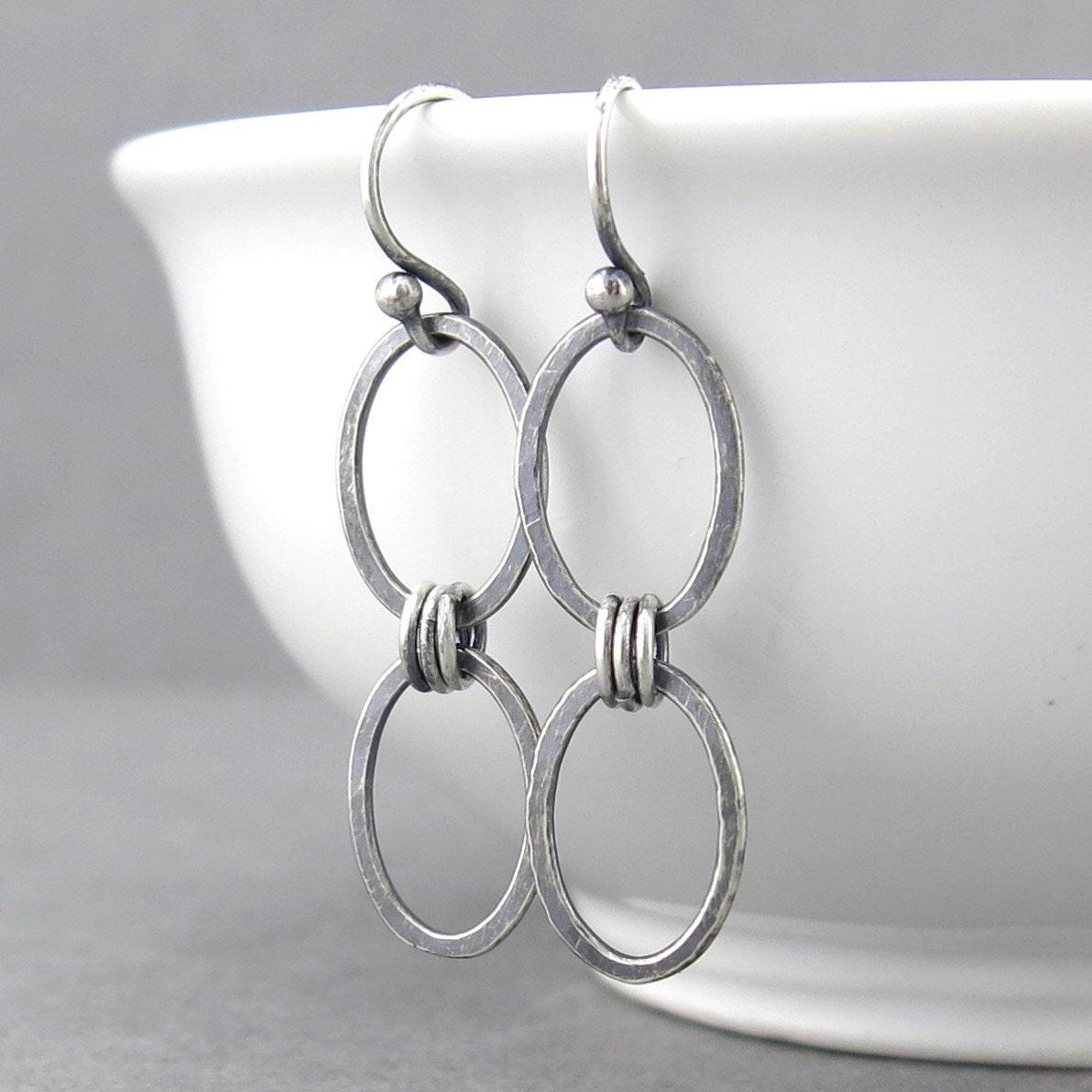 Simple Silver Earrings Silver Dangle Earrings by ...