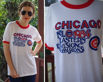 Chicago CUBS Vintage 1984 Red White Navy Blue Ringer Tshirt // N. L. Eastern Division Champions // Deadstock NEW // size XL Large