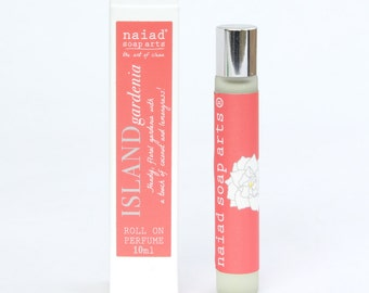 Island gardenia Roll on Perfume - vegan friendly scent in coconut oil - 97% natural