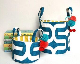Set of 2 Bright Modern Fabric Storage Bin, Fabric Storage Basket with Pom Poms