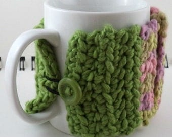 Crocheted Coffee or Ice Cream Cozy with Pocket in Spring Colors with Green Button (SWG-E15)