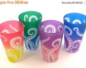 SUMMER SALE Octopus Tentacles 12 oz Pint Glasses - Set of 4 - Frosted Style - Etched and Painted Glassware - Ready to Ship