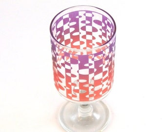 SUMMER SALE Inverted Ovals Stemmed Tumbler Glass - Inlaid Style - Etched and Painted Glassware - Custom Made to Order