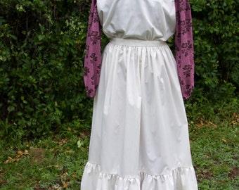 Ladies, size 8/10, Pioneer/Prairie costume in rosy mauve and cream.