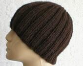 Brown ribbed beanie hat, men's hat, women's beanie, ski, snowboard, biker cap, toque, winter hat, skull cap, brown hat, musician, chemo cap