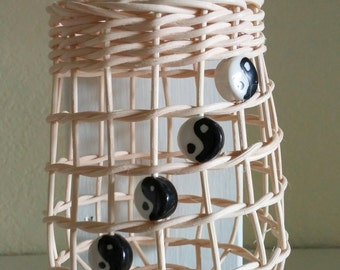 Garlic Baskets in white or brown reed with Yin-Yang beads
