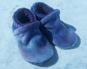 Blueberries: LWI Dyed Bamboo Velour Slippers 0-3M